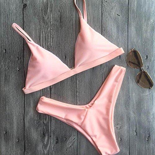 Rosa a V profondo con collo Croce Costumi da Bagno Bikini donne Backless push up Bra Bende Bikini B