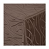 TEXMAXX Damast Tischdecke Maßanfertigung im Streifen-Design in dunkel-braun 150x100 cm eckig, weitere Längen und Farben wählbar