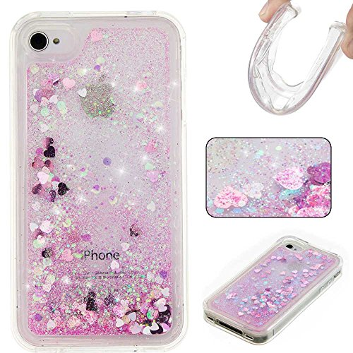 iPhone 4s Case, KKEIKO iPhone 4 / 4s Sparkle Glitter Bling Cover Case [with Free Tempered Glass Screen Protector], Premium Soft TPU Protective Cover, Bumper Shell Skin Case (Pink)