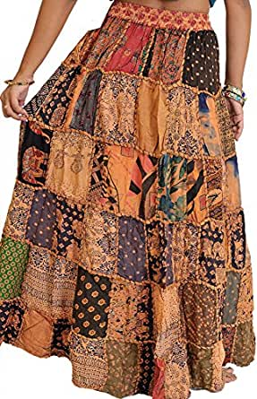 Exotic India Long Printed Dori Skirt from Gujarat with Patch Work - Color BeigeGarment Size Free Size