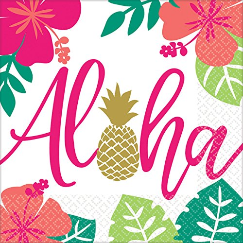Amscan 511953 Servietten Aloha, Mehrfarbig, 33 x 33 cm