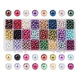 PandaHall Elite & reg Umwelt gefärbt Glas Perlen Runde Perlen, Gemischte Farbe, 6mm, Bohrung: 1mm; ungefähr 60pcs / compent; 1440pcs / box