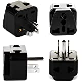 OREI India to USA, Philippines & More (Type B) Travel Adapter Plug - 2 in 1 - CE Certified - RoHS Compliant - 4 Pack - Black