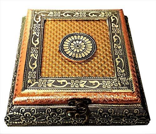 Purpledip Meenakari Holzkiste mit Malerei 'Regal Treasure': Ideal für 500 g Nüsse, Süßigkeiten, Schokolade oder Minze. (11497) - Pistazien-cashew