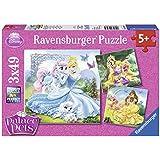 Princesas Disney - Puzzles 3 x 49 piezas, diseño Belle, Cenicienta y Rapunzel (Ravensburger 09346 5)