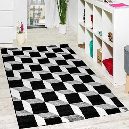 Paco Home Wohnzimmer Teppich Geo Design Würfel Muster Grau Creme Ausverkauf, Grösse:120x170 cm