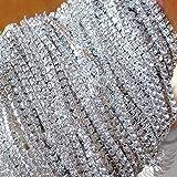 bayee 10Yard strass Chaîne Fermeture Transparent Garniture à coudre Craft 2mm Couleur Argent pour Mariage, bricolage, Couture
