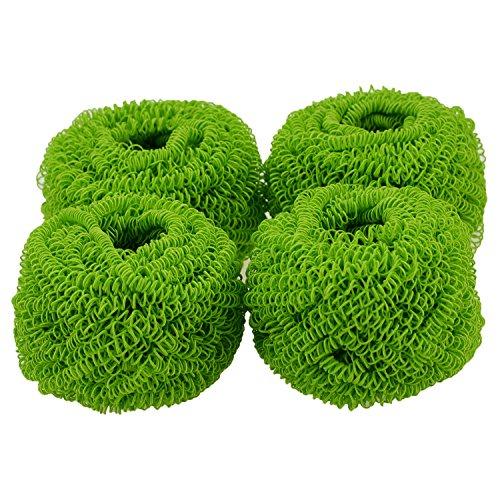 Preisvergleich Produktbild (4Stück) fiberomance Magic kratzfrei Colorful Heavy Duty Hard Polyester Kochtopf und Gericht Scrub Topfreiniger, entfernen harten Schmutz Einfacher, kein Rost und 100% schützt jeden Antihaft-Oberflächen (grün)