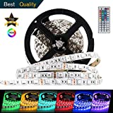 HUAWO LED Strip Lights, Waterproof Flexible RGB LED Strip Light Kit, SMD 5050 300leds mit 44key IR Controller und 12V 5A Power Supply for Bedroom Kitchen Home Decor Trucks Pools Parties etc. 16.4ft