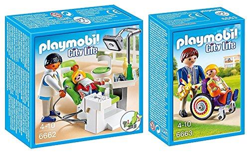 PLAYMOBIL® City Life 2er Set 6662 6663 Zahnarzt + Kind im Rollstuhl