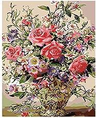 SEGMART Malen Nach Zahlen für Erwachsene Kinder Home Haus Dekor DIY Geschenk,Ohne Rahmen 40 * 50 cm, Blumen