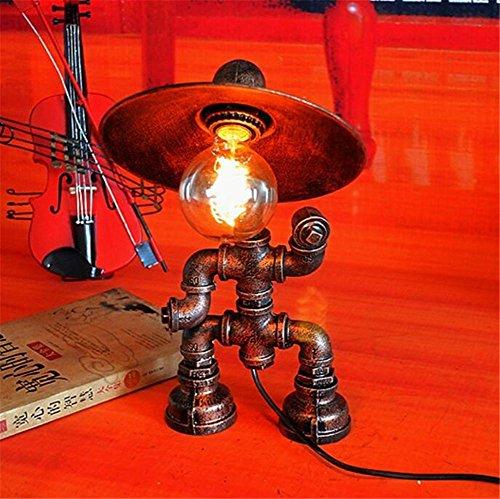 BZJBOY Lampada da Scrivania epoca industriale in ferro battuto Robot Acqua tubi da tavolo lampada da letto soggiorno Lampada Dimmerabile Lampada da comodino Atmosfera Lamp Desk