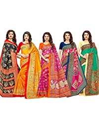 1 Stop Fashion Women's Multi-Coloured Bhagalpuri Digital Printed Saree Combo With Blouse (Set Of 5)