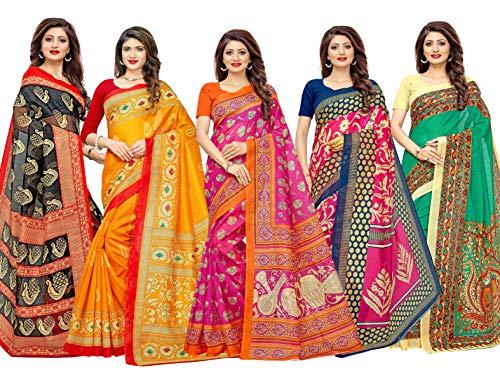 1 Stop Fashion Women's Multi-Coloured Bhagalpuri Digital Printed Saree Combo With Blouse (Set Of 5)