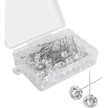 Vidillo Head Pins,100pc Diamante Crystal Head Pins,Round Jewelry Pins for Wedding,DIY Dressmaking,Craft,Sewing,Decorations,Floral Corsage Bouquet Pins with Plastic Box