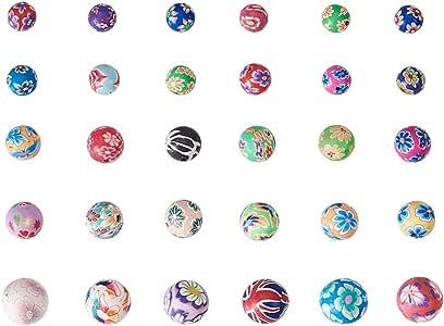 Lot 20 Perles en pate polymère faites à la main 8mm couleur mélangée