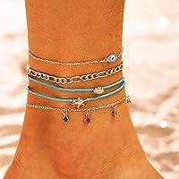 Bohend Boho stella marina Spiaggia Cavigliera Oro MultiStrato Caviglia Bracciale Guscio Cavigliere Occhio Perlina…