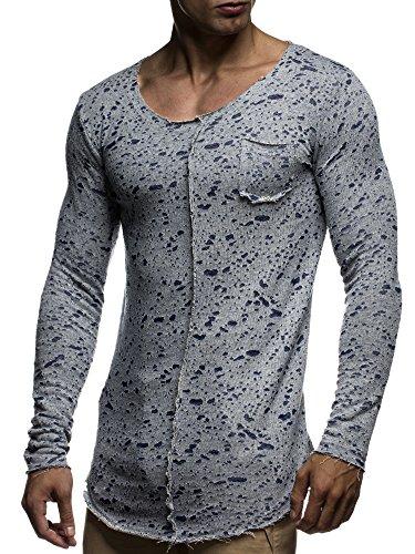 LEIF NELSON Herren Pullover Hoodie Longsleeve Sweatshirt Sweater oversize  tiefer Ausschnitt Rundhals LN6297 Blau 3cef6ca4b1