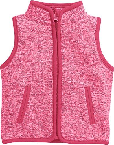 Schnizler Unisex Baby Weste Strickfleece Kontrastnähten, Oeko-Tex Standard 100, Rosa (Pink 18), 74