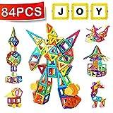 distianert Kleine Magnetische Bausteine 84pcs Set aus Magnetischen Fliesen Kreatives und Pädagogisches Spielzeug für Babys/Kleinkinder mit Aufbewahrungstasche