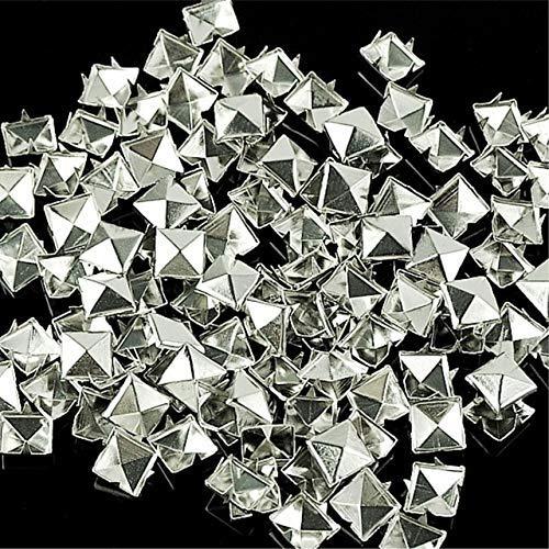 AiCheaX 100 Teile/los 10mm Silber Kegel Nieten und Spikes Screwback DIY Handwerk Cool Punk Kleidungsstück Nieten für Kleidung/Tasche/Schuhe/Leder - (Farbe: Silber, Größe: 10mm) (Kleidungsstück Leder Große Tasche)