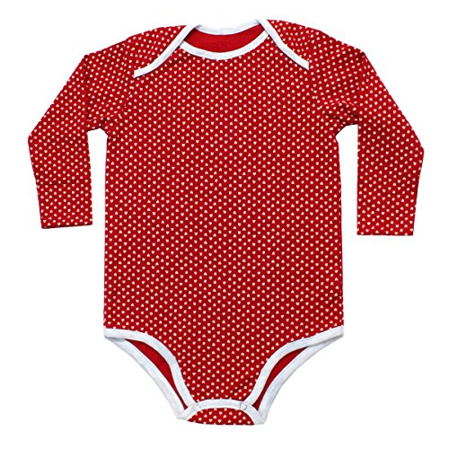 Kadambaby Onesie for Baby Girl, 100% premium cotton onesie for newborn, Red Heart bodysuit Romper onesie for baby girl (6-12 Months)