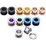 JSDDE Set di piercing in acciaio inox 12/6 pezzi, diversi colori, dilatatori per orecchio, punk (2-20 mm)