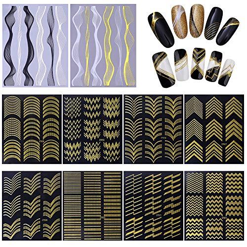 10 Blatt Nagelaufkleber,Nail Art Aufkleber,Nagelsticker,Gold Metal 3D Nail Sticker Design Selbstklebende Maniküre Einfarbig Sticker Schöne Mode DIY Dekoration