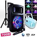 Altavoz fuzzy12bt LED batería 700W '12/30cm + Derby Kolor RGB LED Pa DJ