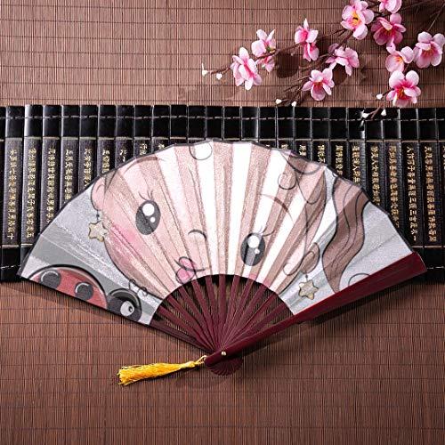 WYYWCY Kinder japanische Fans niedlichen Cartoon Mädchen mit einem Marienkäfer mit Bambusrahmen Quaste Anhänger und Stoffbeutel Farbe Faltfächer Outdoor Hand Fan benutzerdefinierte Faltfächer