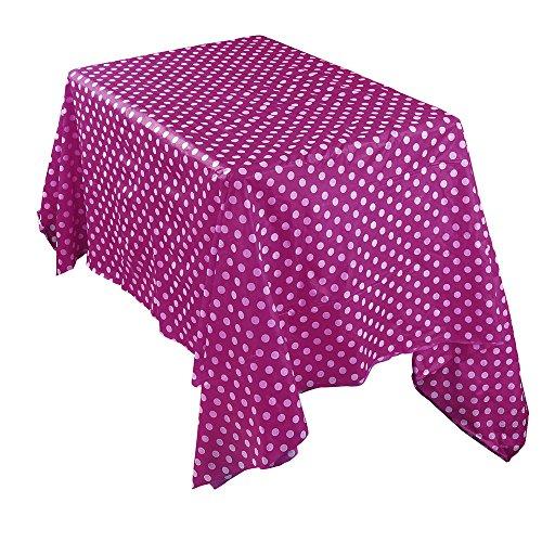Sallyohno Tischdecke einfarbig Punkt Tischdecke wasserdicht und öldicht staubdicht rechteckig Einweg Kunststofftischdecke (137 * 274CM, Hot Pink) (Tischdecke Pink Hot)