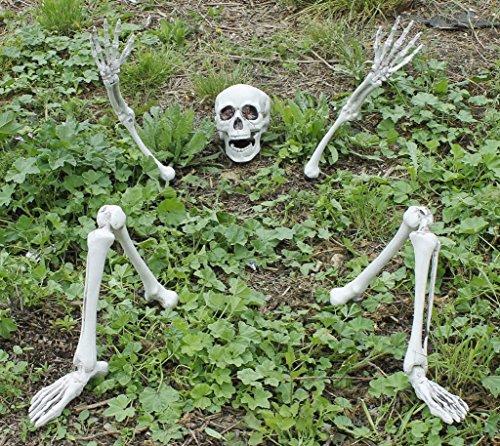 3 SKELETTE DIE AUS DEM BODEN STEIGT = VON ILOVEFANCYDRESS®= DIESE DEKORATION BEKOMMEN SIE NUR BEI UNS=AUS DEM BODEN STEIGENDE SKELETTE MIT AN UND AUS SCHALTBAREN ROTEN LEUCHTENDEN AUGEN= 1 (Armee Toten Halloween Kostüm Mann)