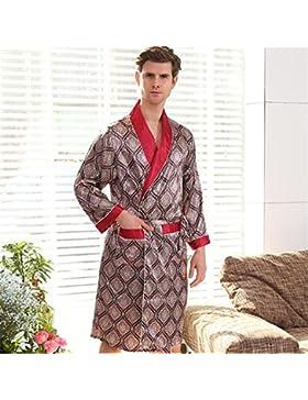 SUxian Gran Albornoz de los Hombres Albornoz de Manga Larga Albornoz Collar Rojo Pijama