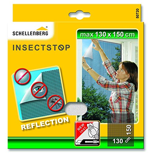 Schellenberg 50720 Fliegengitter Fiberglasgewebe | REFLECTION: Insektenschutz mit integriertem Sonnen-, Hitze- & Sichtschutz | Maße: 130 x 150 cm | anthrazit | Montage ohne bohren | inkl. Zubehör