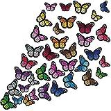 WILLBOND 36 Stücke Schmetterling Eisen auf Patches Schmetterling Stickerei Applikationen Patches für Kunsthandwerk oder DIY Dekoration T-Shirt Jacke Schuhe Taschen Reparatur Patch