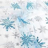 Glitzer Organza Gaze Stoff glänzend Schneeflocke snow