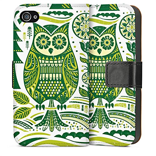 Apple iPhone 4 Housse Étui Silicone Coque Protection Hibou Hibou Hibou Sideflip Sac