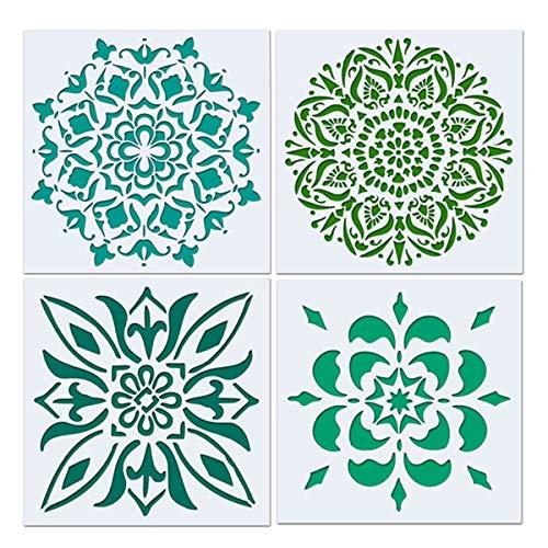 Artibetter 4 Stücke Mandala Boden Schablone, Malerei Schablone, Laser Cut Malerei Vorlage für Dekor Wand Fliesen Holz Möbel Stoff, Airbrush, Rocks -