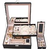 ProCase Boîte à Bijoux Antichoc, Sac de Rangement à Double Couche, Extérieur en Cuir Intérieur en Velours avec Miroir Fermetu