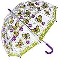 Bugzz PVC Dome Umbrella for Children - Butterfly Daisy Meadow