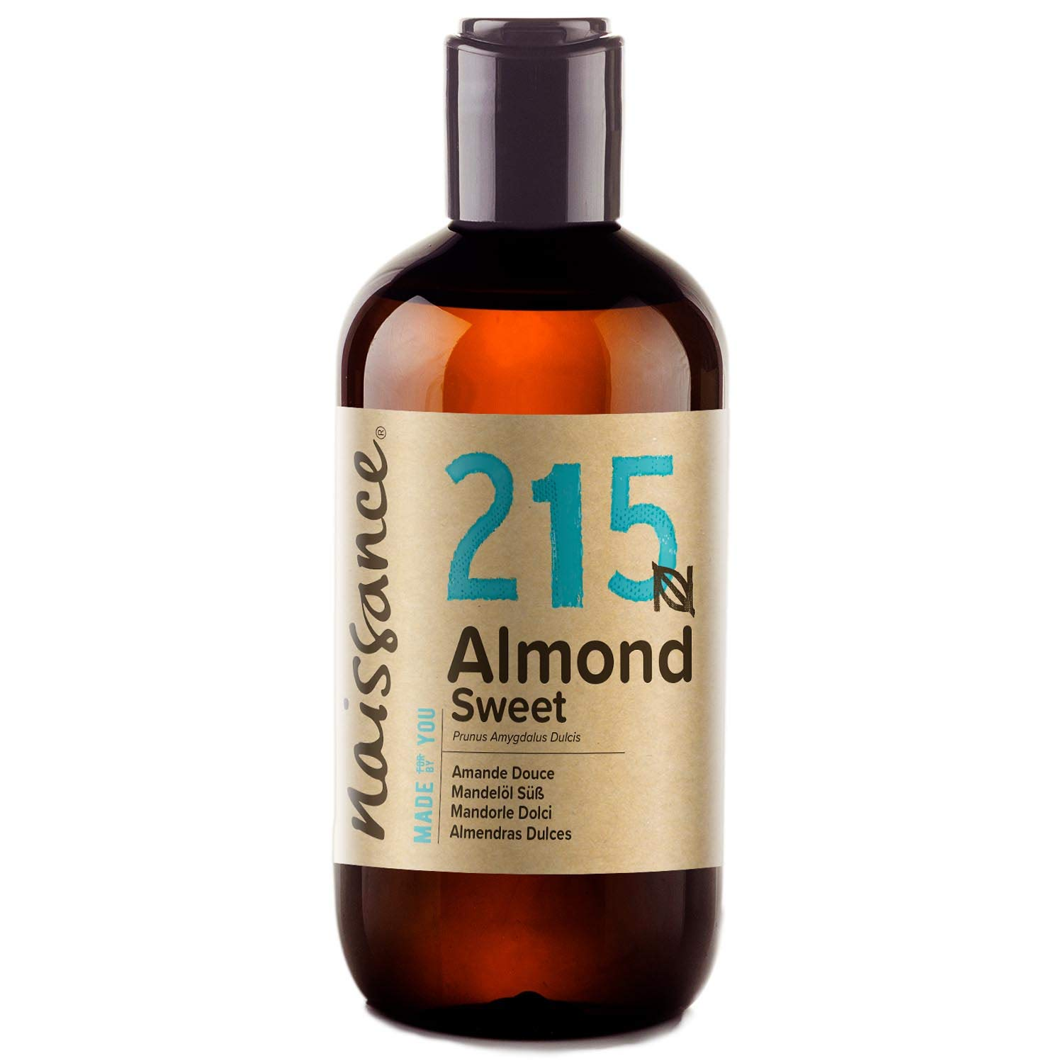 Naissance Sweet Almond Oil (no. 215) 250ml – Pure, Natural, Cruelty Free, Vegan, No GMO