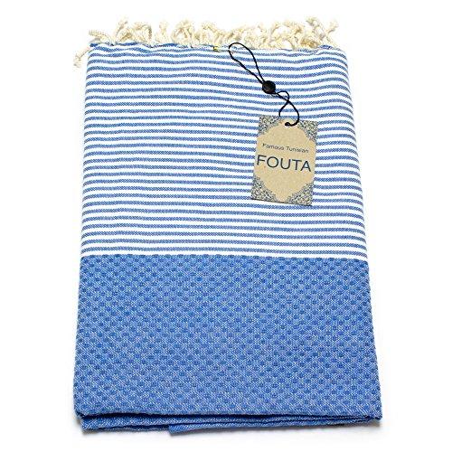 Fouta Abeille Hamam-Tuch Sauna-Tuch Pestemal XXL Extra Groß 197 x 100cm - 100% Baumwolle aus Tunesien als Strand-Tuch, für Bad, Picnic, Yoga, Schal (Orientalisches Türkisches Bade-Tuch) (Ozeanblau) (Damen-frottee-liege)