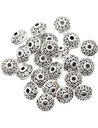 ILOVEDIY 100PCS Breloque Perles Tibetaines Argent Argentees Pour Bracelet Fabrication Bijoux 6mm