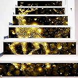 Tagether 3D Treppen Aufkleber DIY Renovierung Dekorative Wandaufkleber, Wand Home Decor Abnehmbare Aufkleber für Treppenhaus, Weihnachten Thema Simulierter Treppenaufkleber (6 Stücke)
