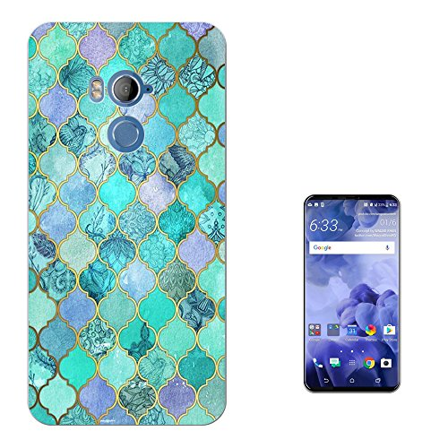 "Preisvergleich Produktbild 002104 - Cool Geometric Snake Skin Effect Blue Green Colours Design HTC U11+ PLUS 6.0"" Fashion Trend Silikon Hülle Schutzhülle Schutzcase Gel Silicone Hülle"