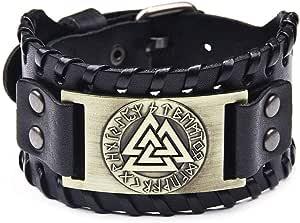 Braccialetto da uomo in vera pelle intrecciata, in vera pelle, con motivo vichingo Totem Odino, bracciale vintage