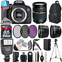Canon Eos Rebel 800D/T7i DSLR Camera + Tamron AF 28-75mm F/2.8 XR Lens + Flash + 0.43X Wide Angle Lens + 2.2X Telephoto Lens + UV-CPL-FLD Filters + 64GB Class 10 Memory - International Version