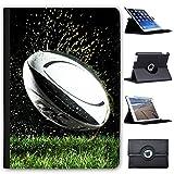 Ballon de Rugby Coupe du Monde kit Équipe Snuggle Étui en Simili Cuir Coque Sac avec Support de visionnage pour tablettes Apple iPad 9.7' 5th Generation (2017 Version) Wet Ball Being Thrown on Field