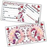 EINHORN EINLADUNG Kartenset XL (24 Stück) Rosa zum Ausfüllen von BREITENWERK® für Kindergeburtstag, Mädchen-Party, Geburtstags-Feier
