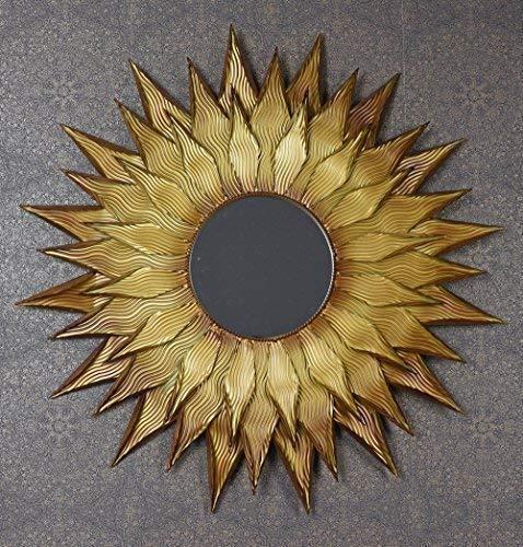 Sonnenspiegel Rokoko Spiegel Gold Wandspiegel Flammenspiegel Rund 90 cm Palazzo Exklusiv